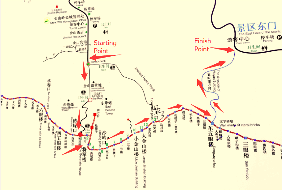 Jinshanling Great Wall map
