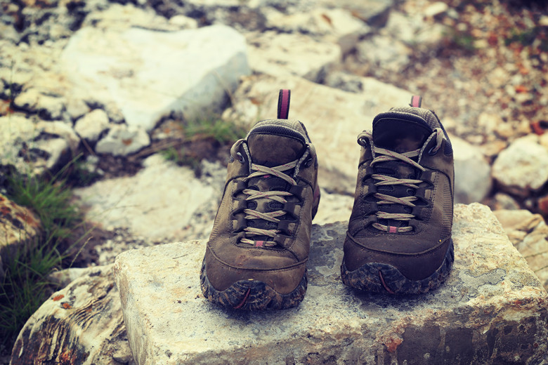 hiking shoes on the top of great wall