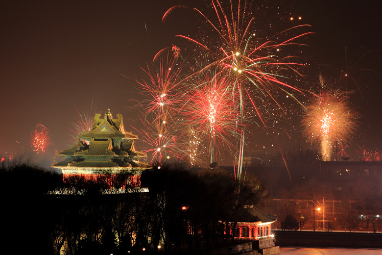 The Forbidden City in China in the new year's night,the Imperial Palace.