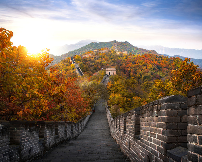 Chinese Great wall in Autumn and sunset, mountain and landmark very famous for travel near Beijing city, wall big one on the world, China, Asia