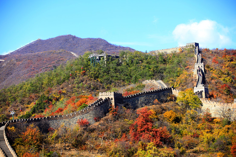 The Great Wall of China is in autumn