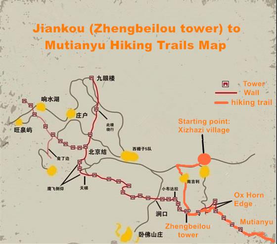 Jiankou & Mutianyu map