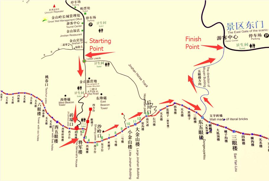 Jinshanling Great Wall map
