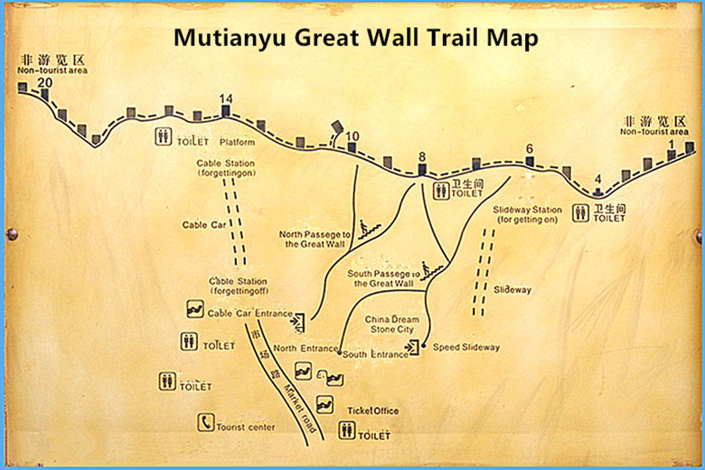 Great Wall map Mutianyu