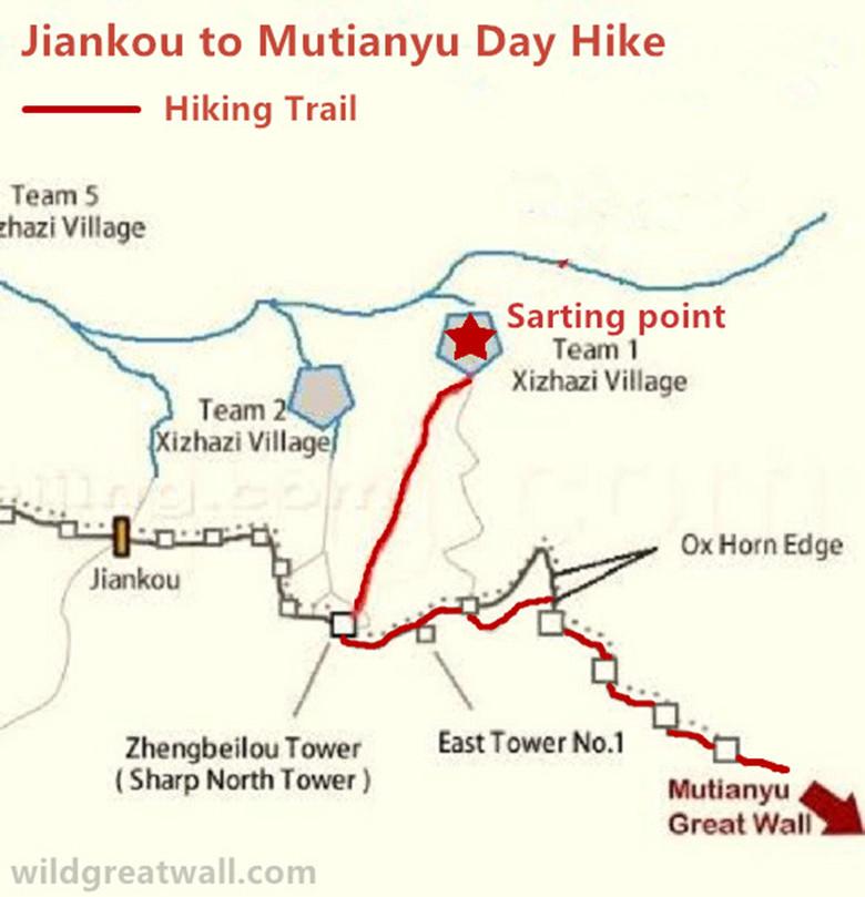 Jiankou Mutianyu Great Wall hiking map_副本