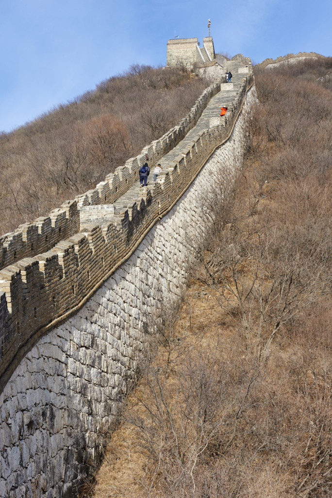 Mutianyu, China - January 17, 2015: tourists climbing the Mutianyu section of the Great Wall of China during winter. Mutianyu. Huairou District. Beijing. China.