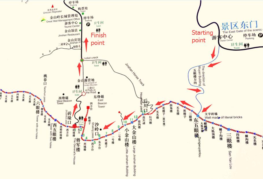 Great Wall Jinshanling map